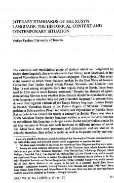 Kushko - Literary Standards of the Rusyn Language: Historical Context and Contemporary Situation